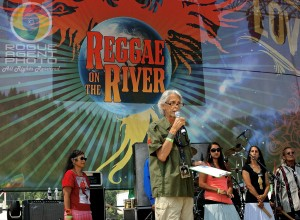 Doug Green, Emcee and President of the Mateel Community Center, Begins the Opening Ceremony at Reggae On The River 2013