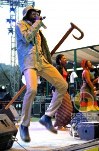 Natural Black Performing in the Air on Saturday at Reggae On The River 2013